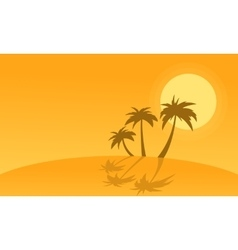 Silhouette of palm with reflection on hills vector