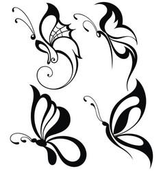 Silhouettes butterflies vector