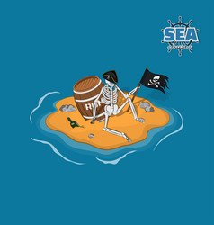 Skeleton of pirate in hat on a deserted island vector