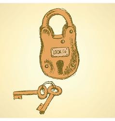 Sketch padlock with keys in vintage style vector image