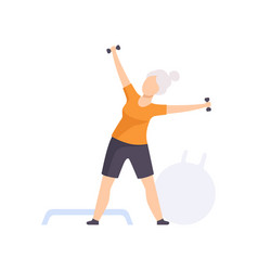 Sportive senior woman character exercising with vector