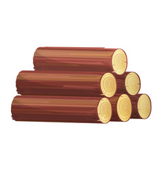 stack firewood icon brown tree trunks vector image