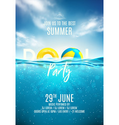 summer pool party poster template vector image