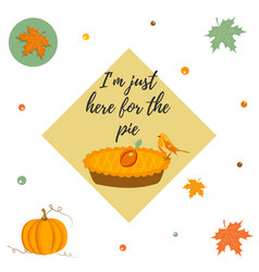 Thanksgiving day background with pie pumpkin vector