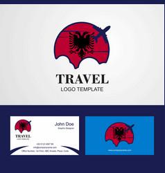 Travel albania flag logo and visiting card design vector