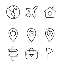 Travel trip set icons vector image vector image