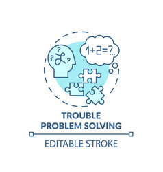 Trouble problem solving turquoise concept icon vector