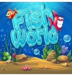 Underwater world with fish vector image vector image