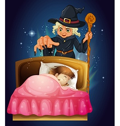 Witch Spell Cast Girl vector