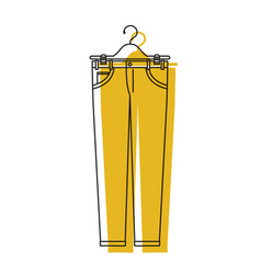Yellow watercolor silhouette of male pants in vector