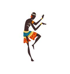 Young african man dancing aboriginal dancer in vector