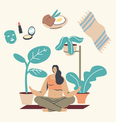 young woman character morning meditation in lotus vector image