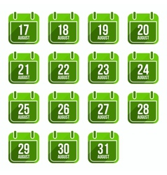 August flat calendar icons Days Of Year Set 22 vector image vector image