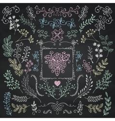 Board Menu Hand Sketched Rustic Floral Doodle vector image vector image