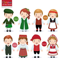 Children of the world Ireland Finland Estonia vector image vector image