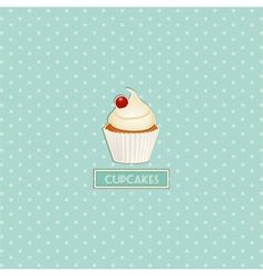 cupcake and polka dot background vector image vector image