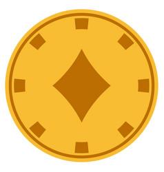 diamonds suit gold casino chip vector image