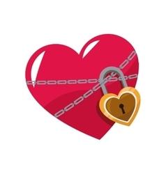 love glossy heart pink lock chain vector image