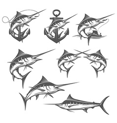 Marlin fishing emblems badges and design elements vector