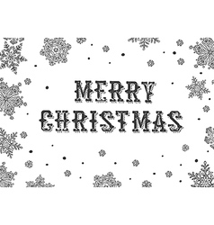 Merry Christmas Greeting Black and white vector image