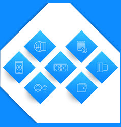 Payment methods types line icons vector