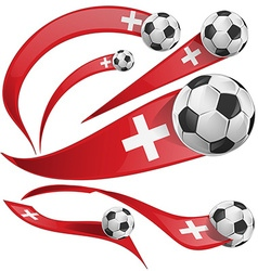 swiss flag set with soccer ball vector image vector image