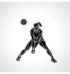 Woman volleyball player silhouette passing ball vector image