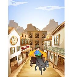 A farmer near the saloon bar vector image