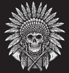 Bold Native American Skull Chief vector image