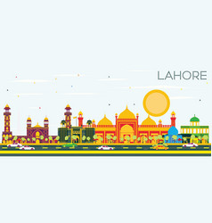 Lahore skyline with color landmarks and blue sky vector