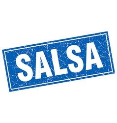 Salsa blue square grunge stamp on white vector