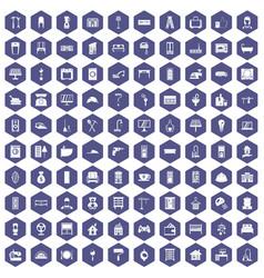 100 comfortable house icons hexagon purple vector image vector image