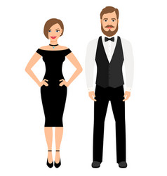beautiful couple in official style outfit vector image