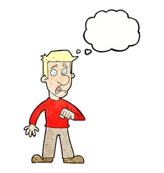 Cartoon shocked man with thought bubble vector