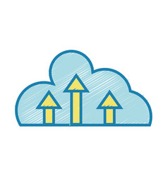 cloud data with arrows up connection vector image vector image