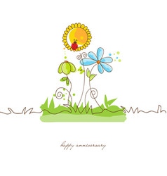 cute flowers background or greeting card vector image