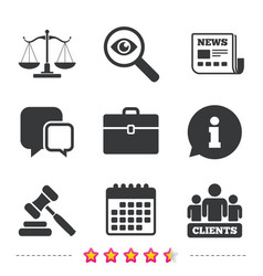 scales of justice icon auction hammer and case vector image