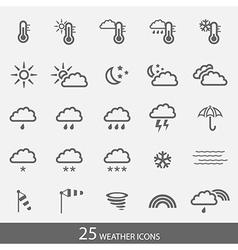 Set of 25 weather icons with stroke Simple grey vector image vector image