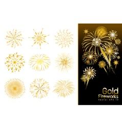 Set of gold fireworks design vector image