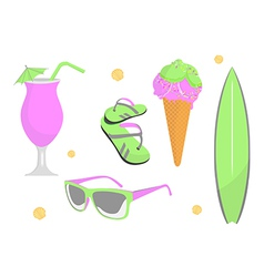 collection of beach and summer elements vector image