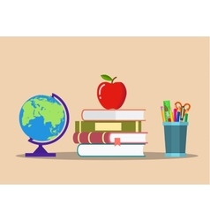 color pencils in cup globe books apple vector image