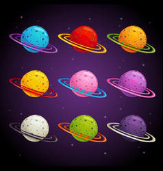 colorful fantasy planets set vector image
