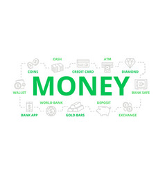 money and bank thin line banner for design vector image vector image