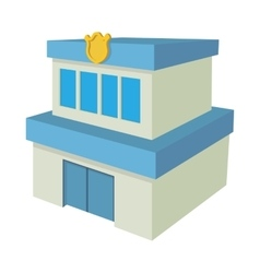 Police department building icon cartoon style vector image