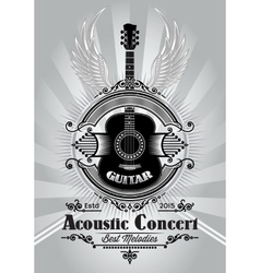 retro poster with a guitar for the concert vector image