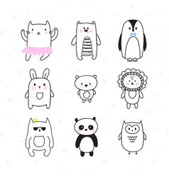 set of cute hand drawn animals doodle collection vector image vector image