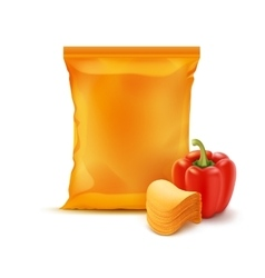 Stack Chips with Paprika and Orange Bag Isolated vector image