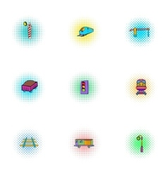 Train icons set pop-art style vector image vector image