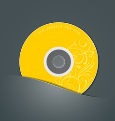 Yellow CD in black package vector image vector image