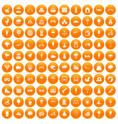 100 childrens park icons set orange vector